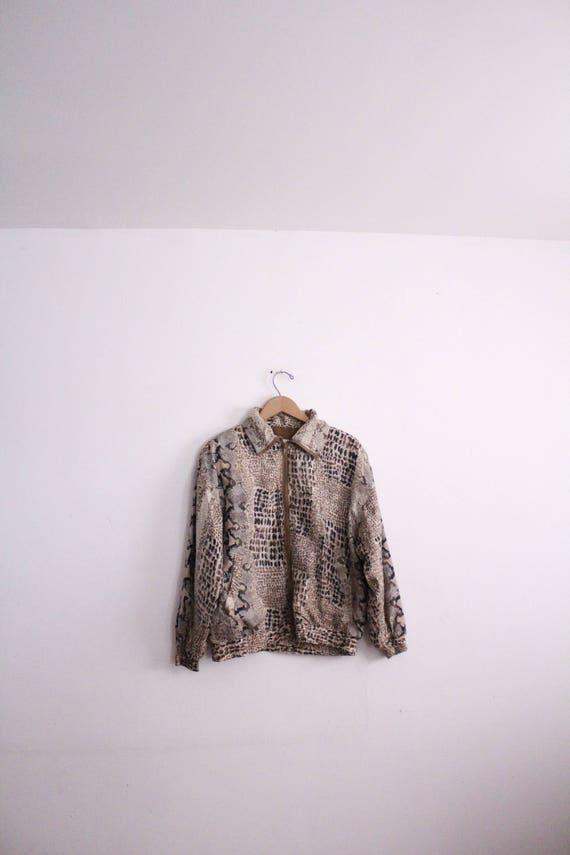 Snakeskin Pattern Silk Windbreaker Jacket