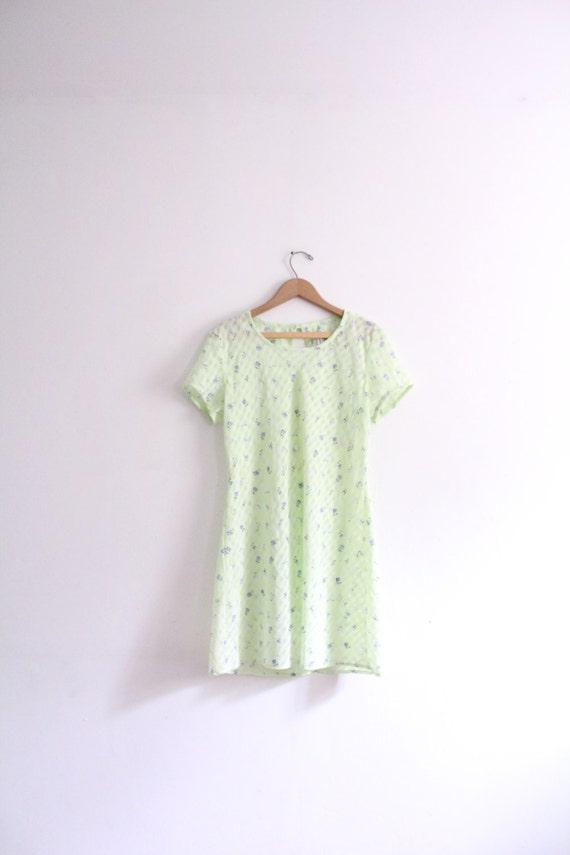 Pale Flower Chiffon 90s Mini Dress