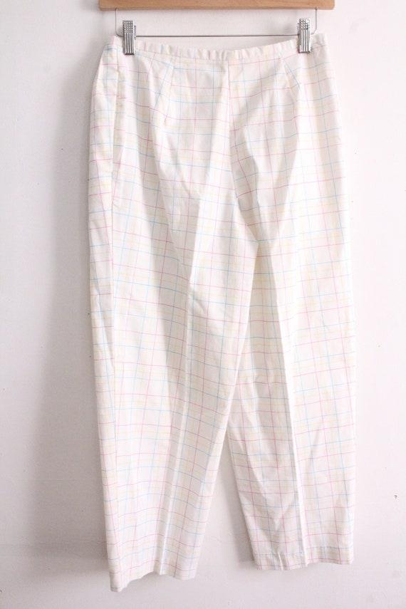 Pastel Grid Plaid 80s Pants - image 4