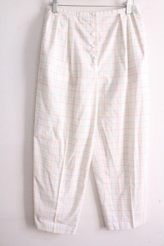Pastel Grid Plaid 80s Pants - image 2
