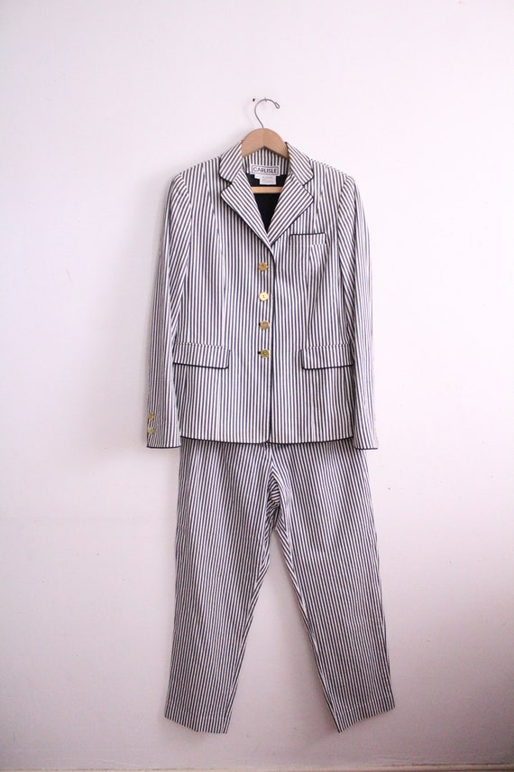 Vintage 90s Seersucker Striped Pant Suit