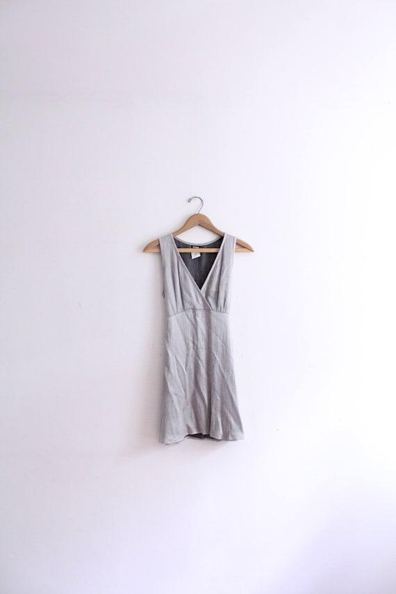 Silver Satin 90s Mini Dress
