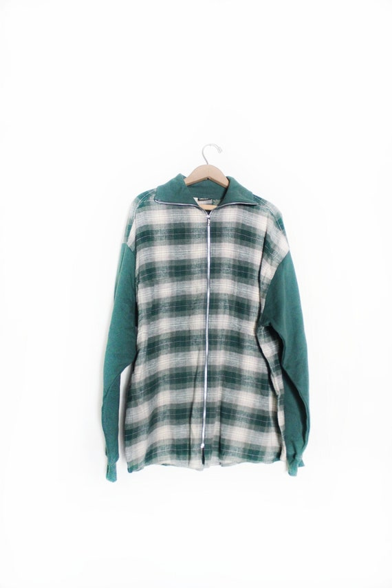 Grunge 90s Plaid Flannel Oversized Shirt Jacket