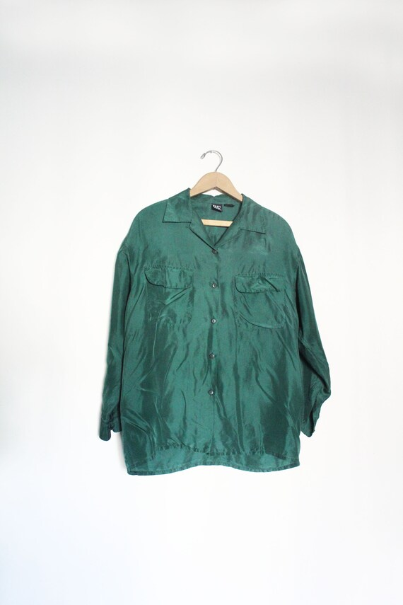 Minimal Forest Green Silk 90s Blouse