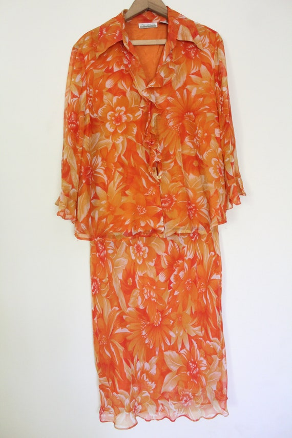 Tropical Floral Silk Chiffon Outfit - image 4
