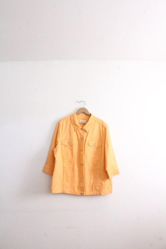 Orange Snakeskin 90s Denim Jacket