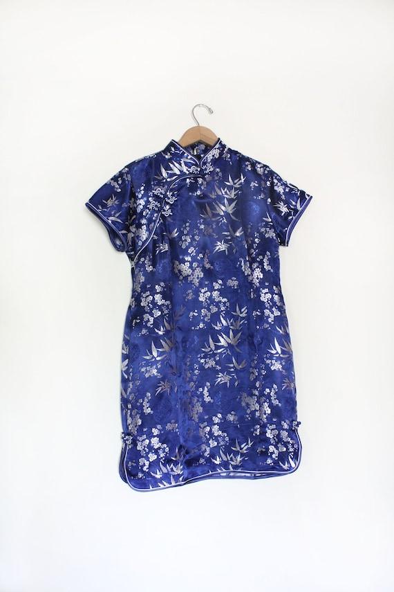 Silky Midnight Blue Mandarin Mini Dress