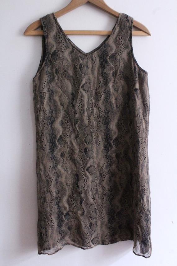 Snakeskin Silk Chiffon Mini Dress - image 2
