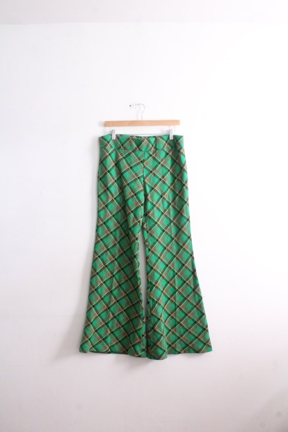 Green Plaid 70s Bell Bottom Pants