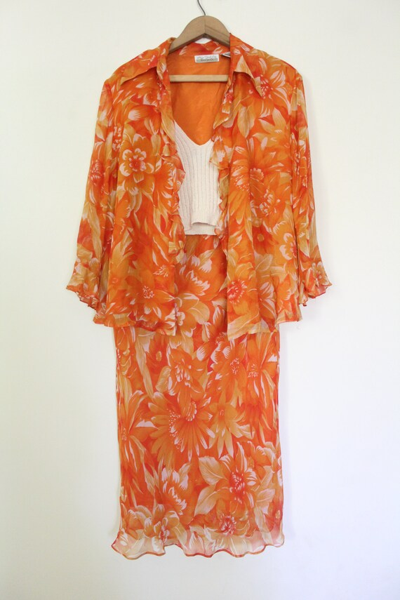 Tropical Floral Silk Chiffon Outfit - image 2
