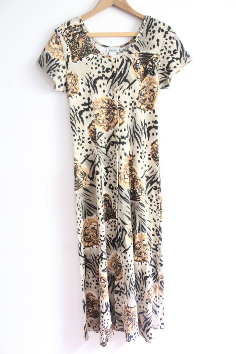 Lion Print 90s Maxi Dress