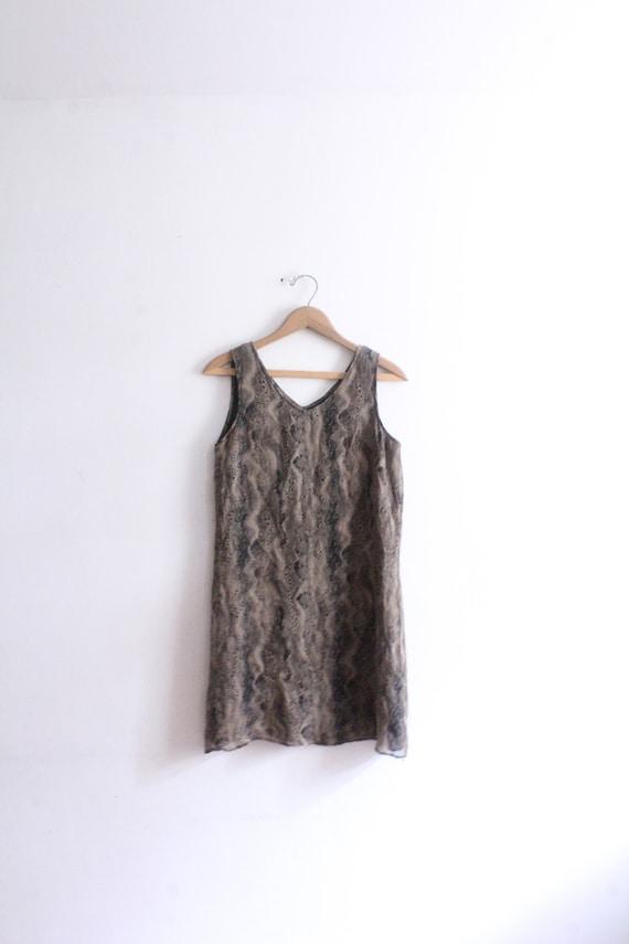 Snakeskin Silk Chiffon Mini Dress - image 1