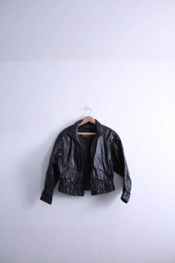 Black Leather Cropped 80s Jacket