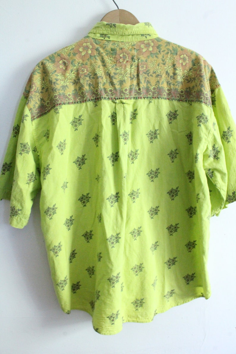 Lime Green 90s Floral Blouse