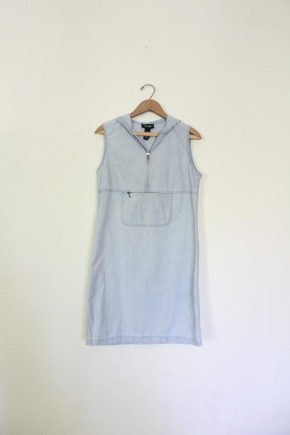 Sporty Denim 90s Hooded Dress