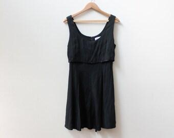 Little Black 90s Button Dress