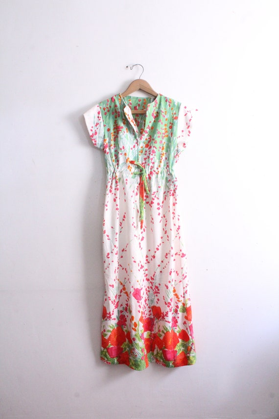Flower Terry Cloth 60s Maxi Dress