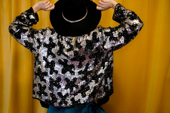 Black and Silver Sequin Jacket