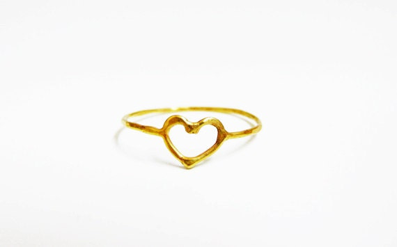 Gold Heart Ring 14k Solid Gold Ring Love Heart Ring Etsy