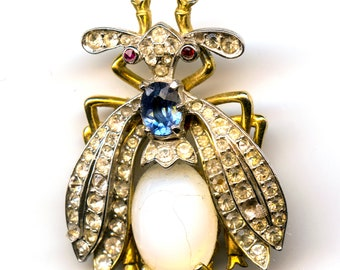 Calvaire Bug Pin with Rhinestone and Moonstone Accents