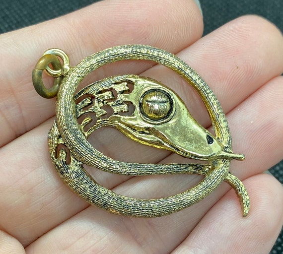 Egyptian Revival Snake Pendant - image 1