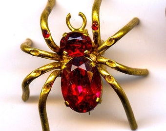 Goldtone Spider Pin with Cranberry Colored Czechoslovakian Stone Accents
