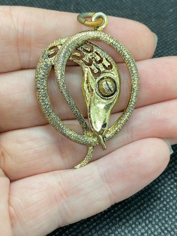 Egyptian Revival Snake Pendant - image 3