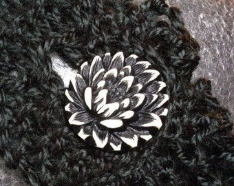 Hand Knit Headband or with Vintage Celluloid Button with Flower