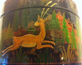 Indian Lacquer Jewelry or Trinket Box with Folk Art Theme of Tiger, Deer and Rabbits