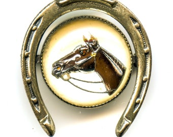 Reverse Painted Glass Horse Pin marked Beau Sterling