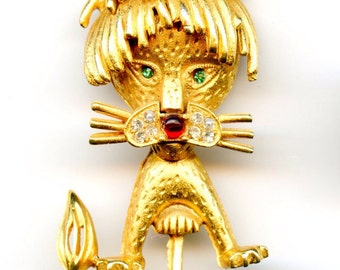 Goldtone Lion Pin with green, white and red rhinestone accents