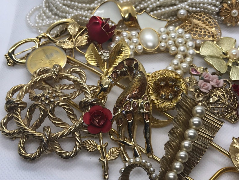 Vintage to Modern Destash Jewelry Lot for Craft Repair Pins Brooches Necklace.
