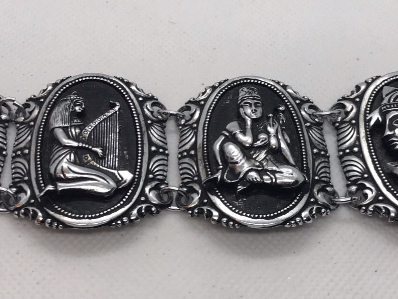 Egyptian Revival Metal Carved Made in West Germany Bracelet King Tut Pyramids Cleopatra