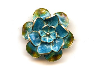 Plique a jour flower pin in 800 s silver