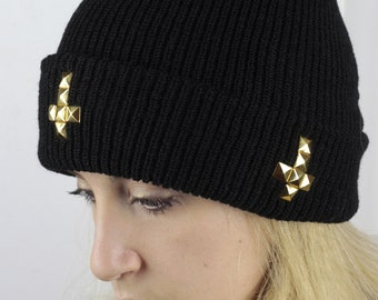1be797bf28b Studded Knit Beanie Hat Inverted Cross