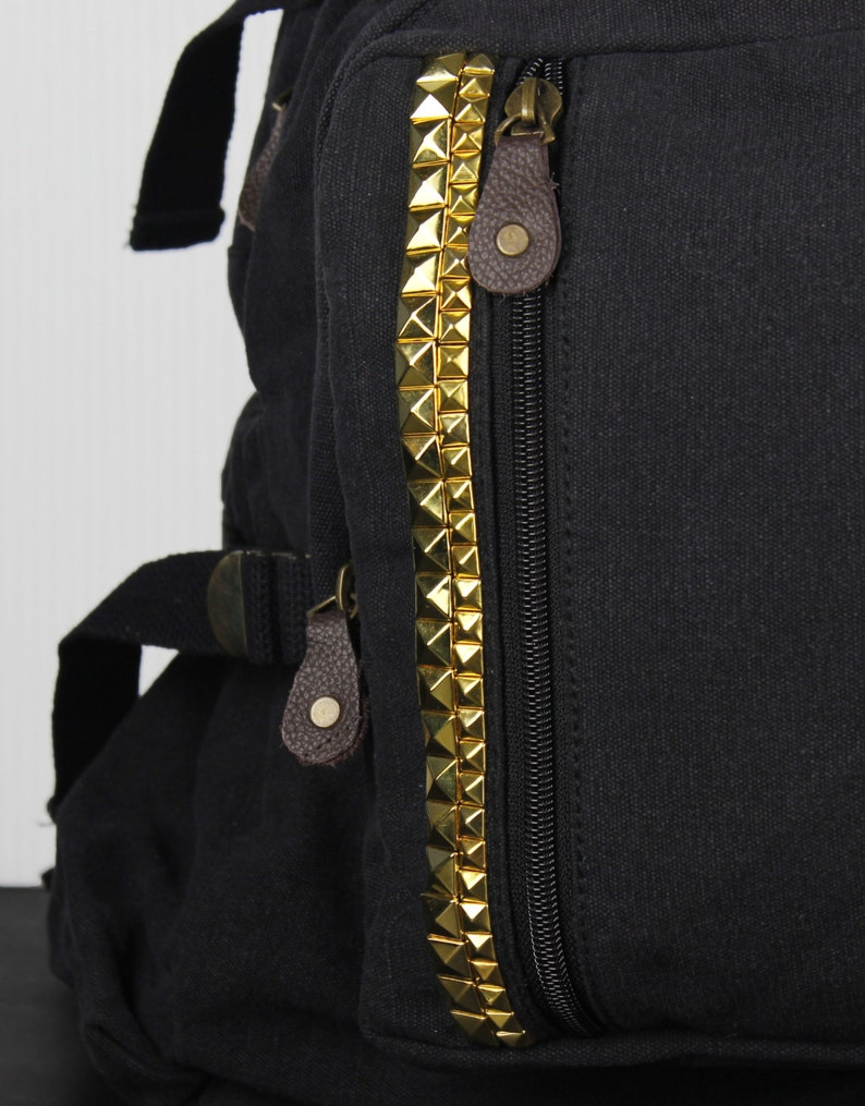 Assorted Colors Large Studded Canvas Backpack