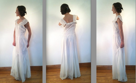 1940s sheer organza gown and grosgrain satin slip