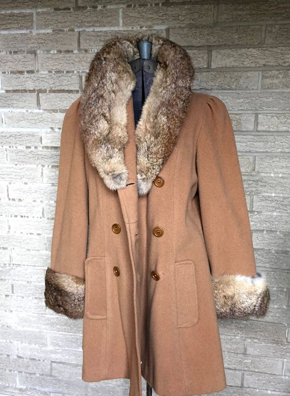 Vintage lambswool peacoat, rabbit lapel and cuffs… - image 1