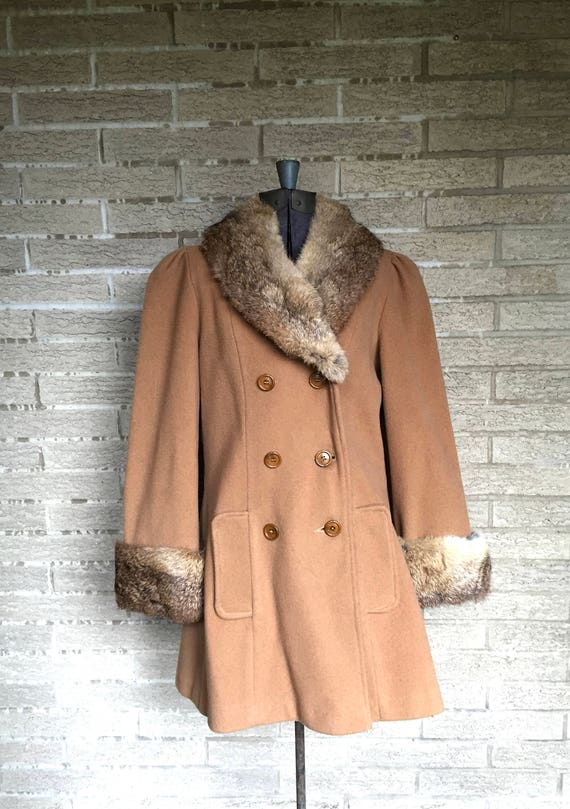 Vintage lambswool peacoat, rabbit lapel and cuffs… - image 2