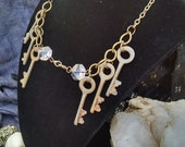 Key and Prism Interchangeable Chain, Tribal Fusion, Belly Dance, Assemblage, Skeleton Key Brass Chain,prisms unique, unusual
