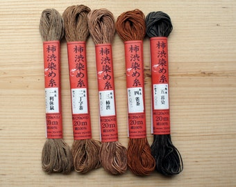 Kakishibu Dyed Thread | 20 meter skeins | Good for Sashiko Stitching