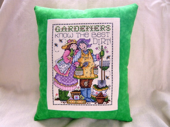 Gardener Themed Counted Cross Stitched Pillow Home Decor Etsy