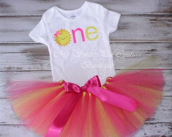 You are My Sunshine First Birthday Outfit- Cake Smash Outfit- 1st Birthday Outfit- Sunshine Birthday- Birthday Shirt- First Birthday-Pink