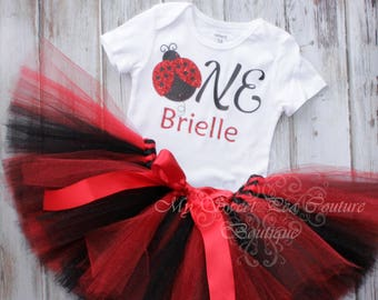 Ladybug First Birthday Tutu Outfit- Cake Smash Outfit- 1st Birthday Outfit- Ladybird Birthday- First Birthday Outfit- One- Ladybug