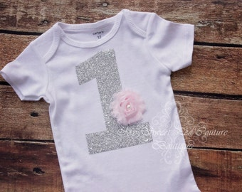1st Birthday Bodysuit with Flower- Personalized 1st Birthday Outfit- First Birthday Bodysuit- Silver One- Cake Smash Outfit- 1st Birthday- 1