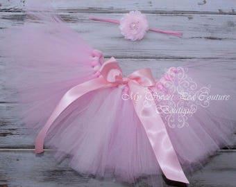 Light Pink & Pink Tutu and Headband Set- Tutu- Princess Tutu- Baby Tutu- 1st Birthday Tutu- Cake Smash Tutu- Birthday Tutu- First Birthday