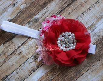 Valentine Couture Headband, Baby Headbands, Newborn Headbands, Infant Headbands, Toddler Headbands, Girls Headbands