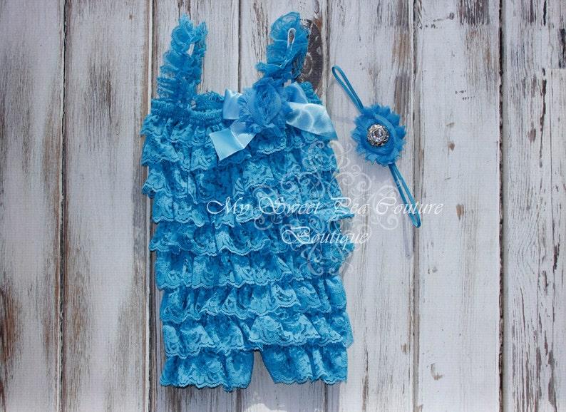 2e8376e2111e Turquoise Embelished Lace Petti Romper   Headband Set Ruffle