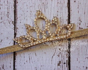 Gold Diamond Rhinestone Tiara- Tiara- Mini Tiara- Mini Crown- Crown- Baby Crown- Crown Headband- Newborn Crown-Photo Prop