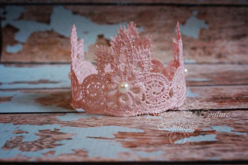 Baby Crown Newborn Crown Infant Crown Pink Crown Photography Prop Pink Lace Crown: Newborn Photo Prop Lace Crown